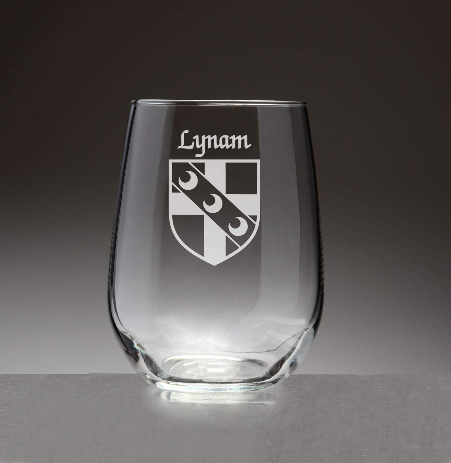 Lynam Irish Coat of Arms Stemless Wine Glasses (Sand Etched)