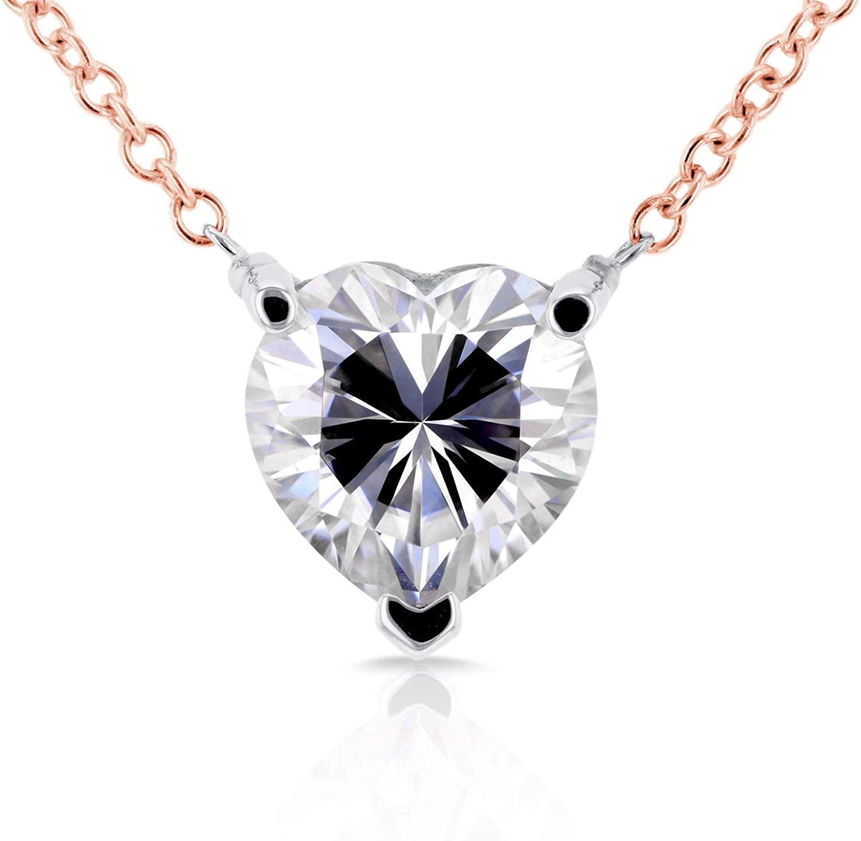 Kobelli Floating Heart Moissanite Necklace 1 CTW 14K Rose Gold
