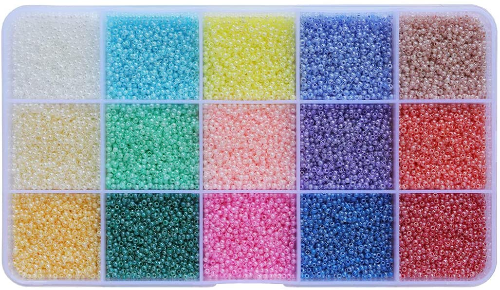 BALABEAD Uniform Size1.8mm Ceylon Seed Beads Kit About 18000pcs in Box Glass Tiny Seed Beads for Jewelry Making (About 1200pcs/Color, 15 Colors)