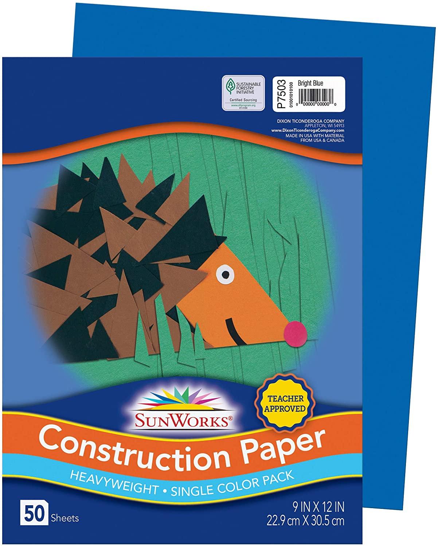 SunWorks Construction Paper, Bright Blue, 9