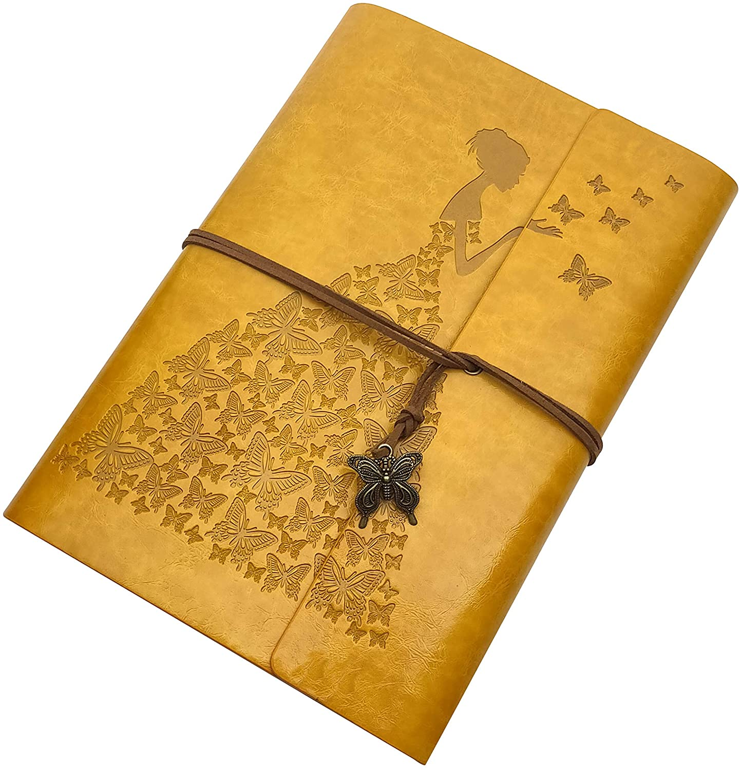 Butterfly Journal Leather Refillable Notebook Premium Retro Spiral Notebook Classic Binder Vintage Embossed Travelers Journal for Art Sketch Travel Diary and Journal Records(Golden Yellow, A5)…