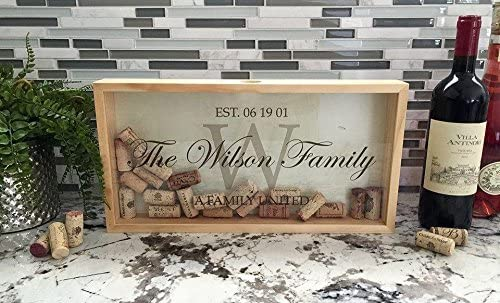 Personalized Wedding Gifts, Rustic Wedding Gift for the Groom and for Her (Wilson Design)- Wall Mounted Monogram Wine Cork Shadow Box Holder Display (16.25