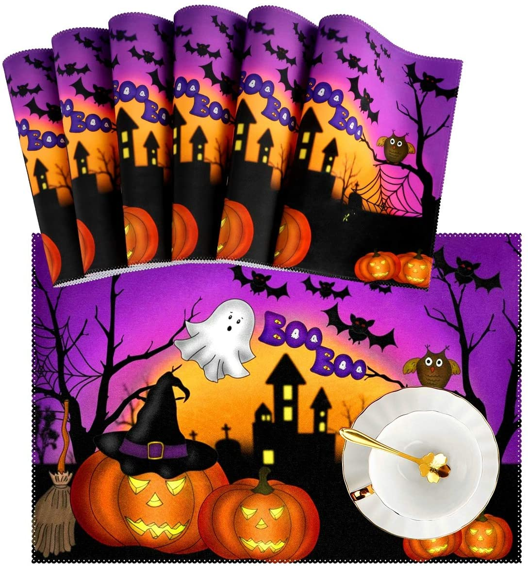 Naanle Halloween Placemat Set of 6, Ghost Owl Pumpkin Heat-Resistant Washable Table Place Mats for Kitchen Dining Table Decoration