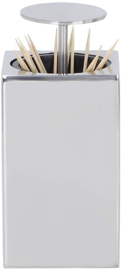 ToothpickHolder, Stainless Steel Toothpick Dispenser 6 x 6 x 10 cm Toothpick Stand Box for Hotel Restaurant