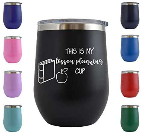 This is My Lesson Planning Cup - Engraved 12 oz Stemless Wine Tumbler Cup Glass Etched - Funny Birthday Gift Ideas for him, her, mom, dad, husband, wife (Black - 12 oz)