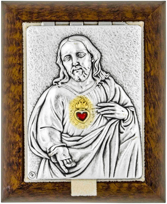Small Decorative Rosary Keepsake Box with Saint Plaque (Sacred Heart of Jesus)