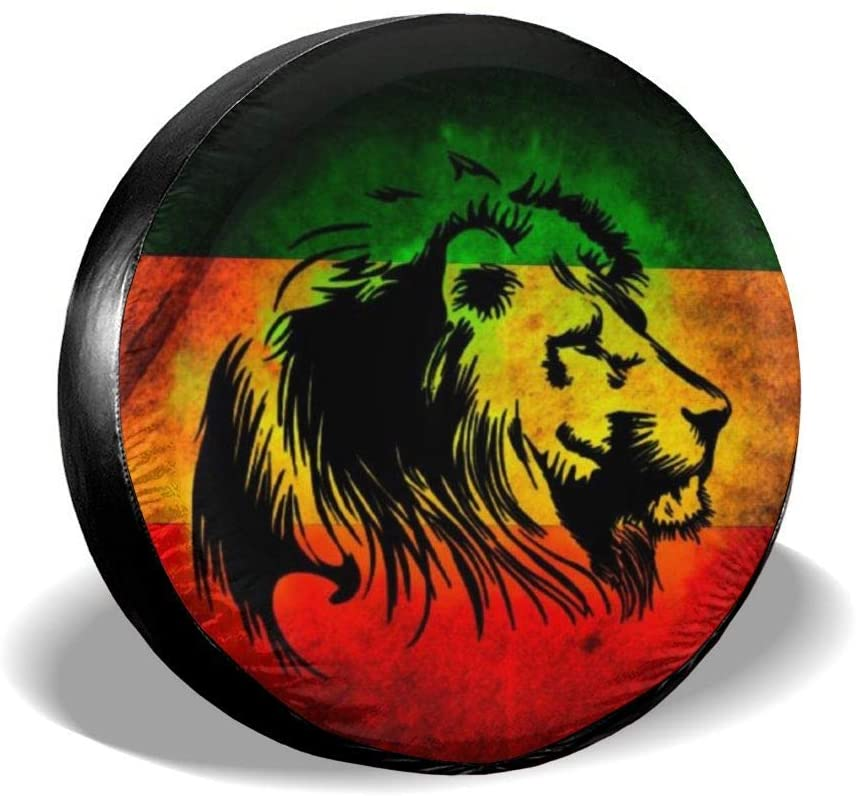 Tire Cover Reggae Rasta Flag Lion Black Portable Polyester Universal Spare Wheel Tire Cover Wheel Covers for Jeep Trailer RV SUV Truck Camper Travel Trailer Accessories