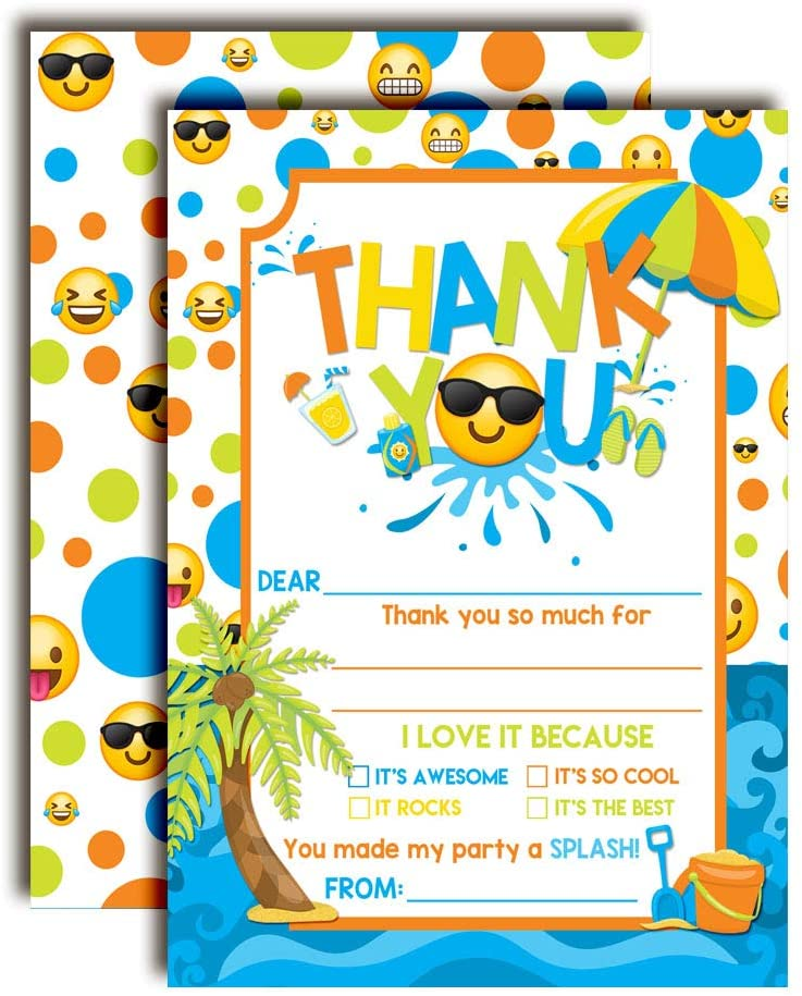 Emoji Pool Party Thank You Notes for Boys, Ten 4