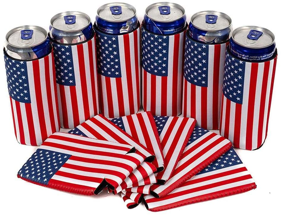 PROKTH 6PCS USA Flag Slim Can Cooler Sleeves - Beer Skinny 12 oz Neoprene Collapsible Coolies - Perfect for 12 oz Slim Red Bull, Michelob Ultra, Spiked Seltzer,Truly,White Claw