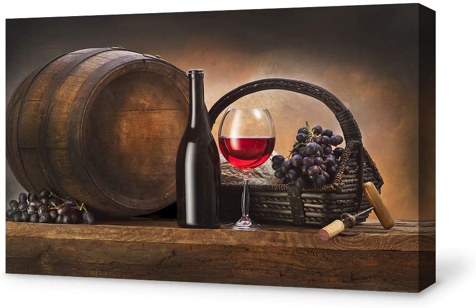 SIGNFORD Canvas Wall Art for Living Room,Bedroom Home Artwork Paintings Red Wine Ready to Hang - 12x18 inches