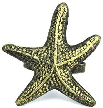 Antique Gold Cast Iron Starfish Napkin Ring 3