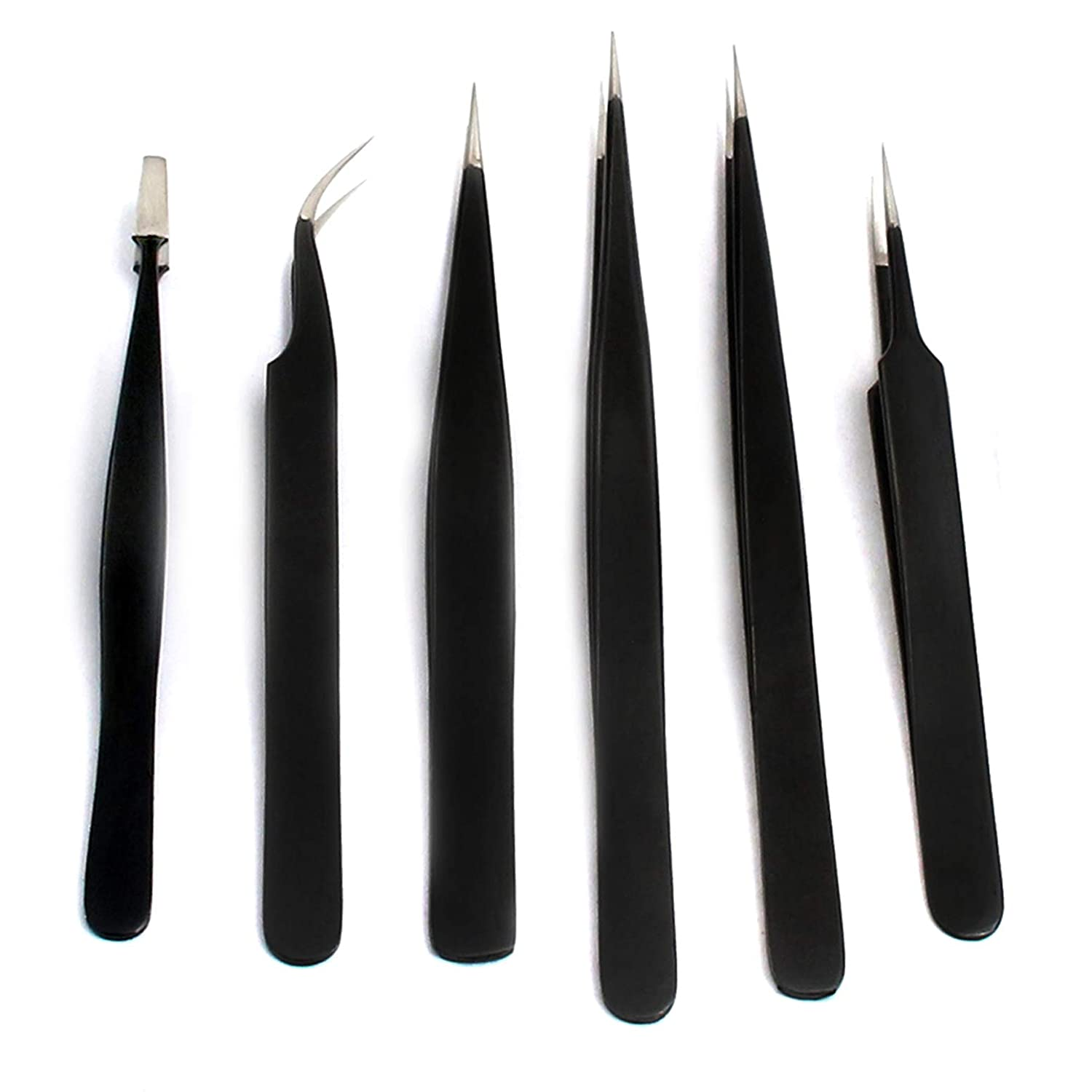 AAProTools 6PCS Precision Anti-Static Tweezers Stainless Steel Tweezer Maintenance Tool for Electronics, Jewelry-Making, Laboratory Work, Repairing, Make up, Nail Art