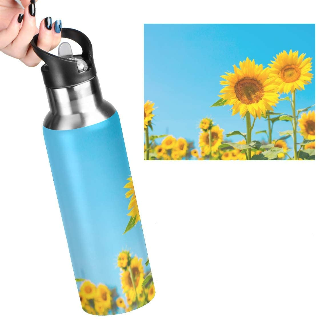 Exnundod Sunflower Field Leakproof Reusable Stainless Steel Water Bottle with Straw 20oz Bright Sky Coffee Travel Thermos Flask Double Walled Vacuum Insulated Thermoses for Women Men Kids.