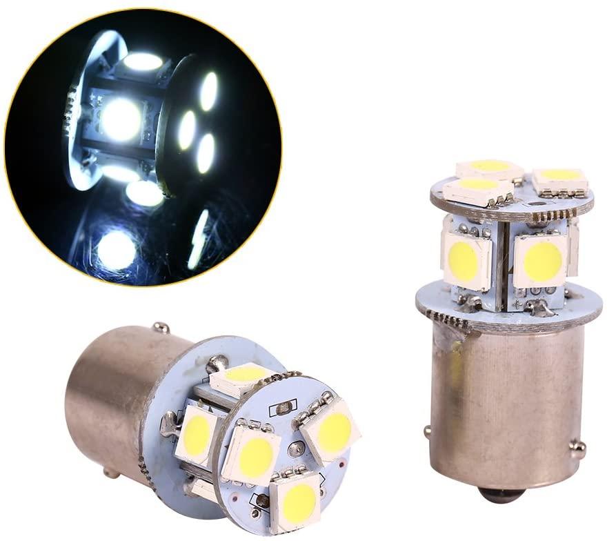 2 pcs White 1156 LED Brake Light Bulb, Keenso BA15S R5W 5050 8SMD LED Car Lights Bulb LED Backup Signal Blinker Tail Light Bulbs 12V Replacement