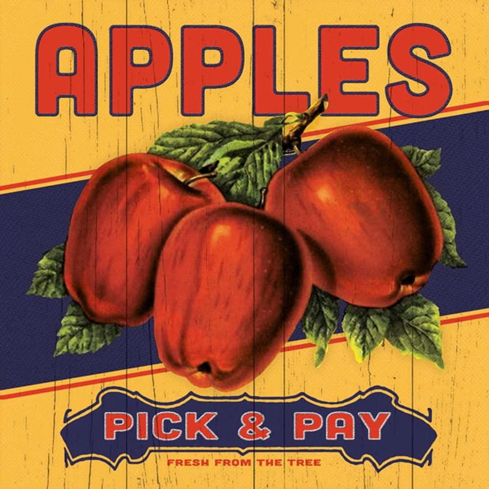 Set of 4 Fruit Label 12x12 Apple Orange Cheery Peach Country Food Kitchen Unframed Art Prints