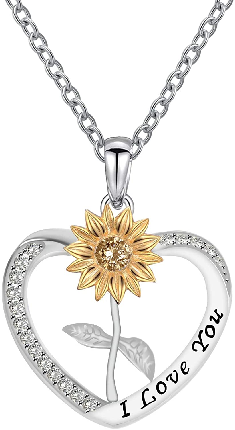 LYMYF You are My Sunshine Engraved Necklace Heart Sunflower Necklace Jewelry for Mom Women Girls Customized Engraved Personalized