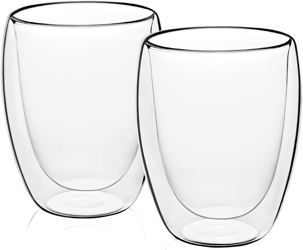 MEWAY 12oz Coffee Mugs, Set of 2, Clear Glass Double Wall Cup for Coffee, Tea, Latte, Cappuccino (2, 12 oz)