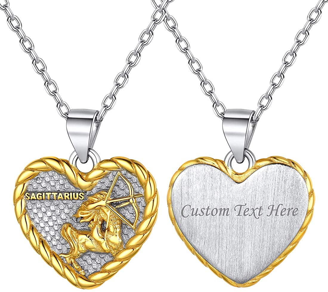 ChicSilver 925 Sterling Silver Zodiac Sign Neckalce Horoscope Constellation Astrology Heart Pendant Birthday Gift Fashion Silver&Gold Two Tone Jewelry Gift for Women Girls