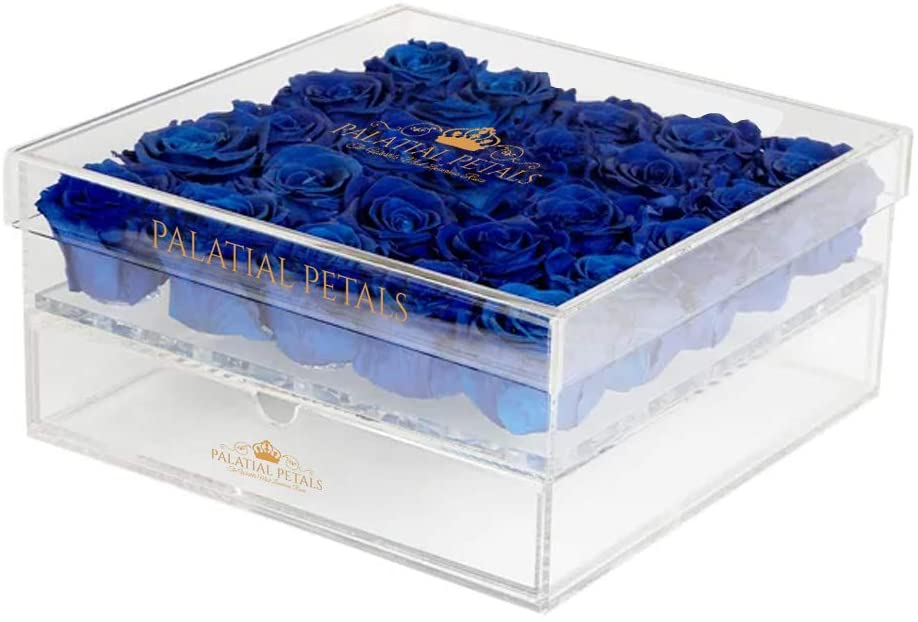 PALATIAL PETALS Acrylic Jewelry Box Organizer Storage Decor | Long Lasting Preserved Luxury Eternity Rose Box - Best Valentine's Gift - Royal Blue