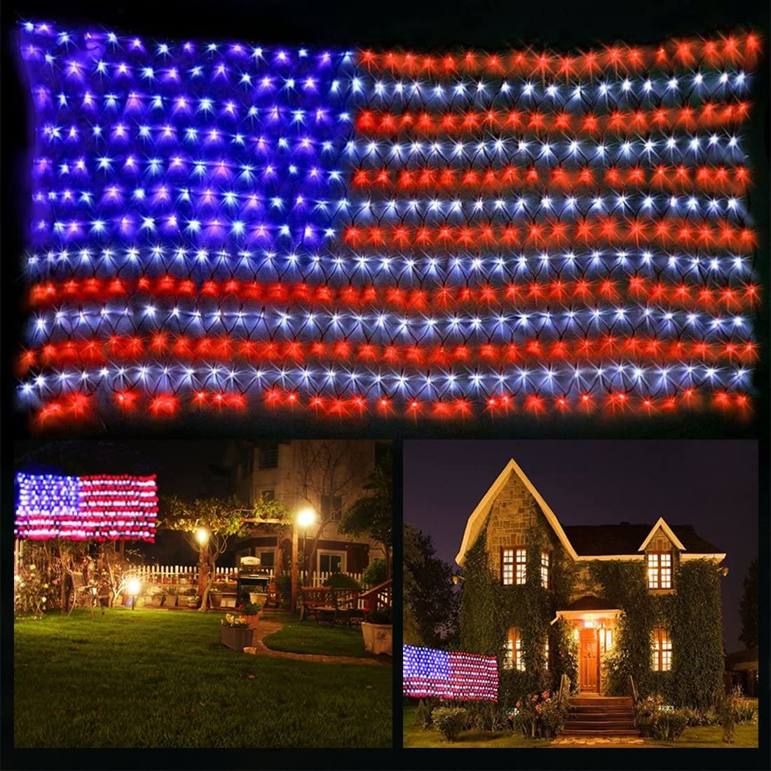 FUNIAO 420 LED American Flag String Lights, 6.5ft×3.3ft Large USA Flag Net Lights Outdoor Waterproof LED Net Mesh Lights for Independence Day Yard Garden Christmas Tree Party Patio Wall Decoration