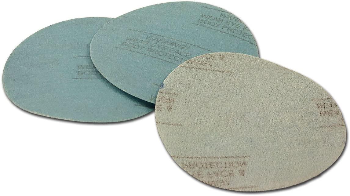 6 Inch 180 Grit Hook and Loop Wet/Dry Auto Body Film Sanding Discs, 50 Pack