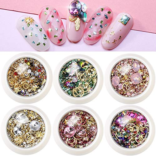 SIUSIO 6 Boxes 3D Mix-shape Metal Gold Nail Rhinestones Crystals Beads Gems Nail Jewels for DIY Decor 3D Nails Art Decoration Accessories