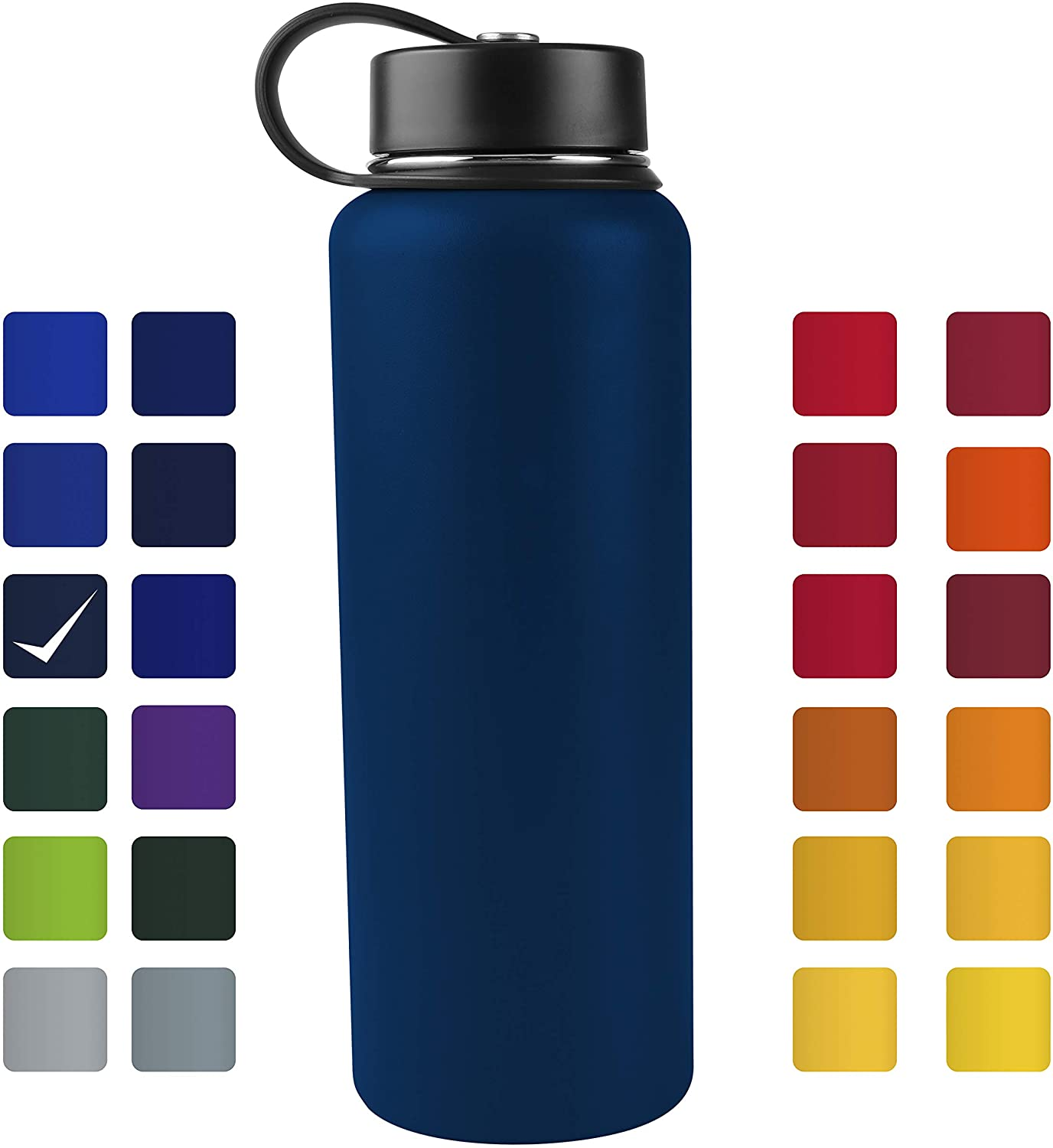 Tahoe Trails 40 oz Double Wall Vacuum Insulated Stainless Steel Water Bottle, Dark Denim