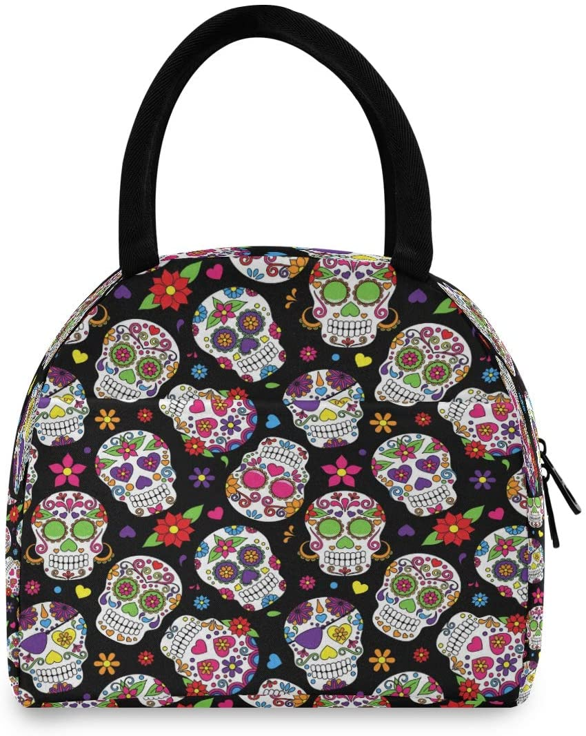 CCDMJ Lunchboxes Men Women Mexican Skull Flower Floral Lunch Tote Containers Bags Reusable Insulated Coolers Organizer Handbags School Picnic Beach Work for Kids Boys Girls