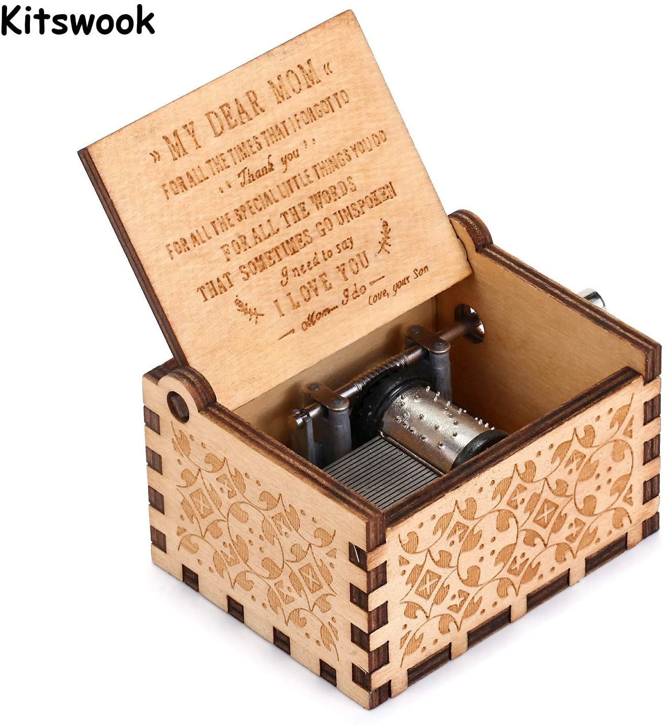 You are My Sunshine Wood Music Boxes,Laser Engraved Vintage Wooden Sunshine Musical Box Gifts for Birthday/Christmas/Valentine's Day (Wood to MydearMom)