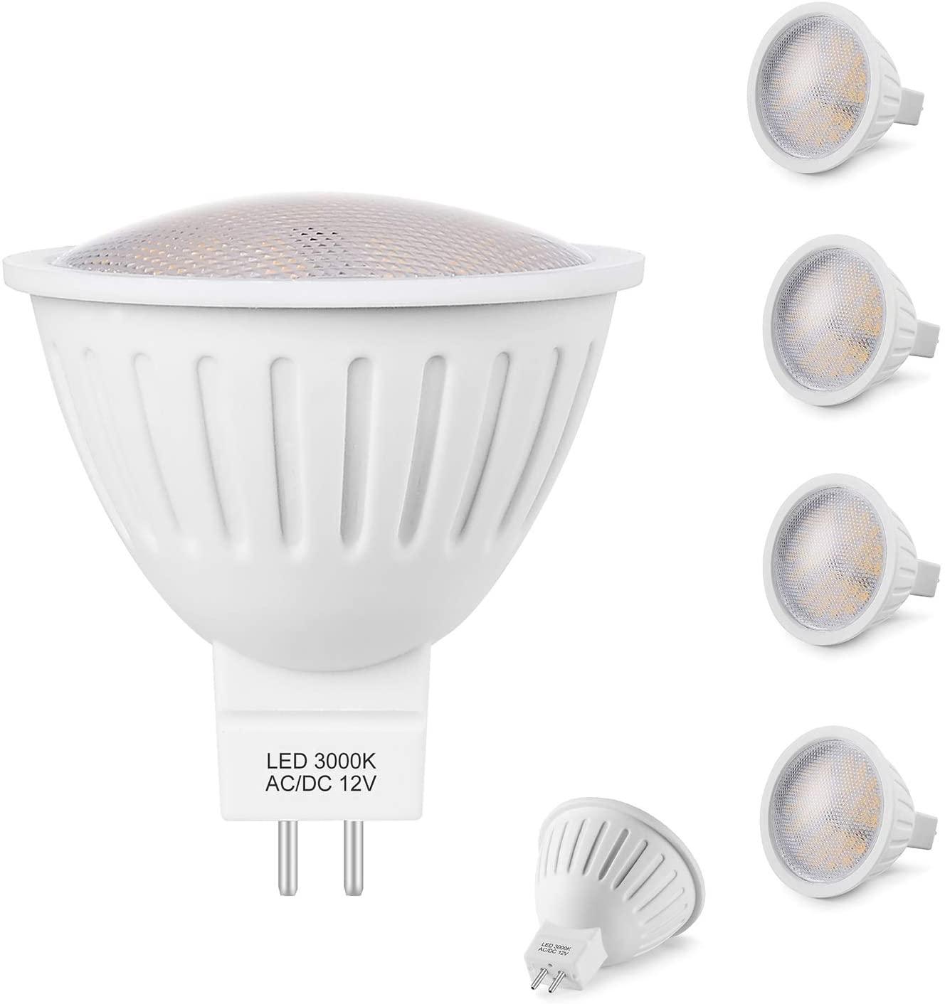 MR16 GU5.3 LED Bulbs, 12V LED Light Bulb, GU5.3 Bi-Pin Base, 3W(35watt halogen bulb Equivalent), 3000K Soft White, 120Degree, Non Dimmable ceiling spotlight,Track Lighting, 6 Pack
