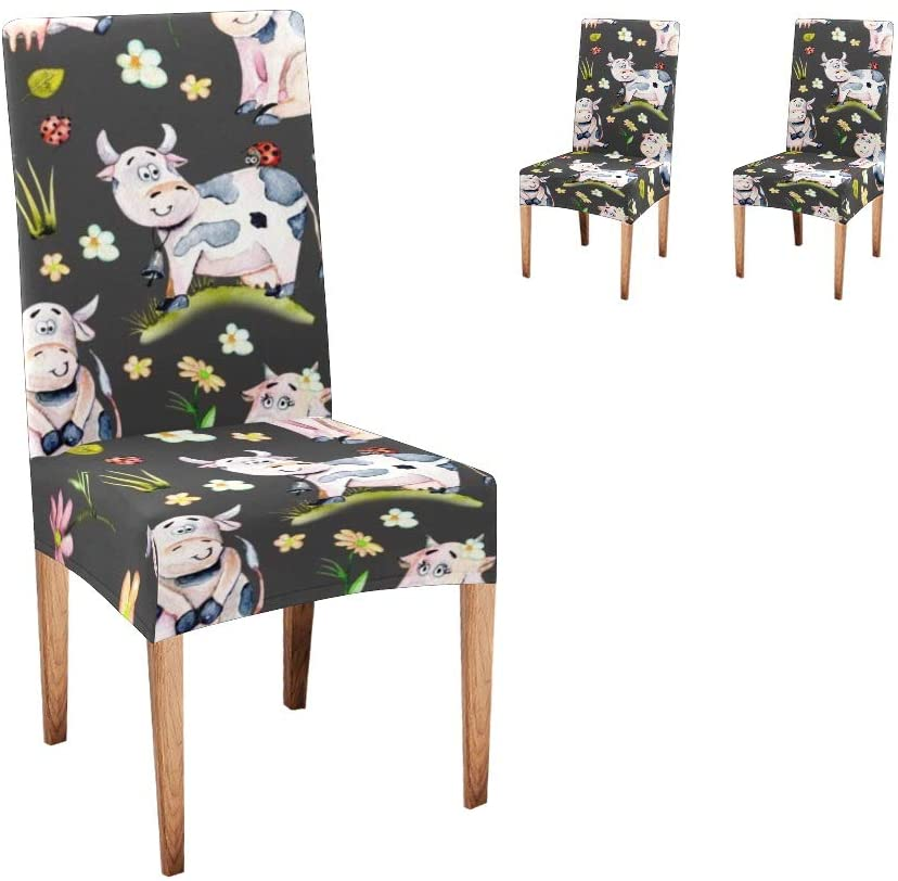 CUXWEOT Chair Covers for Dining Room Floral Watercolor Cow Seat Covers Slipcovers for Party Decor (Set of 2)