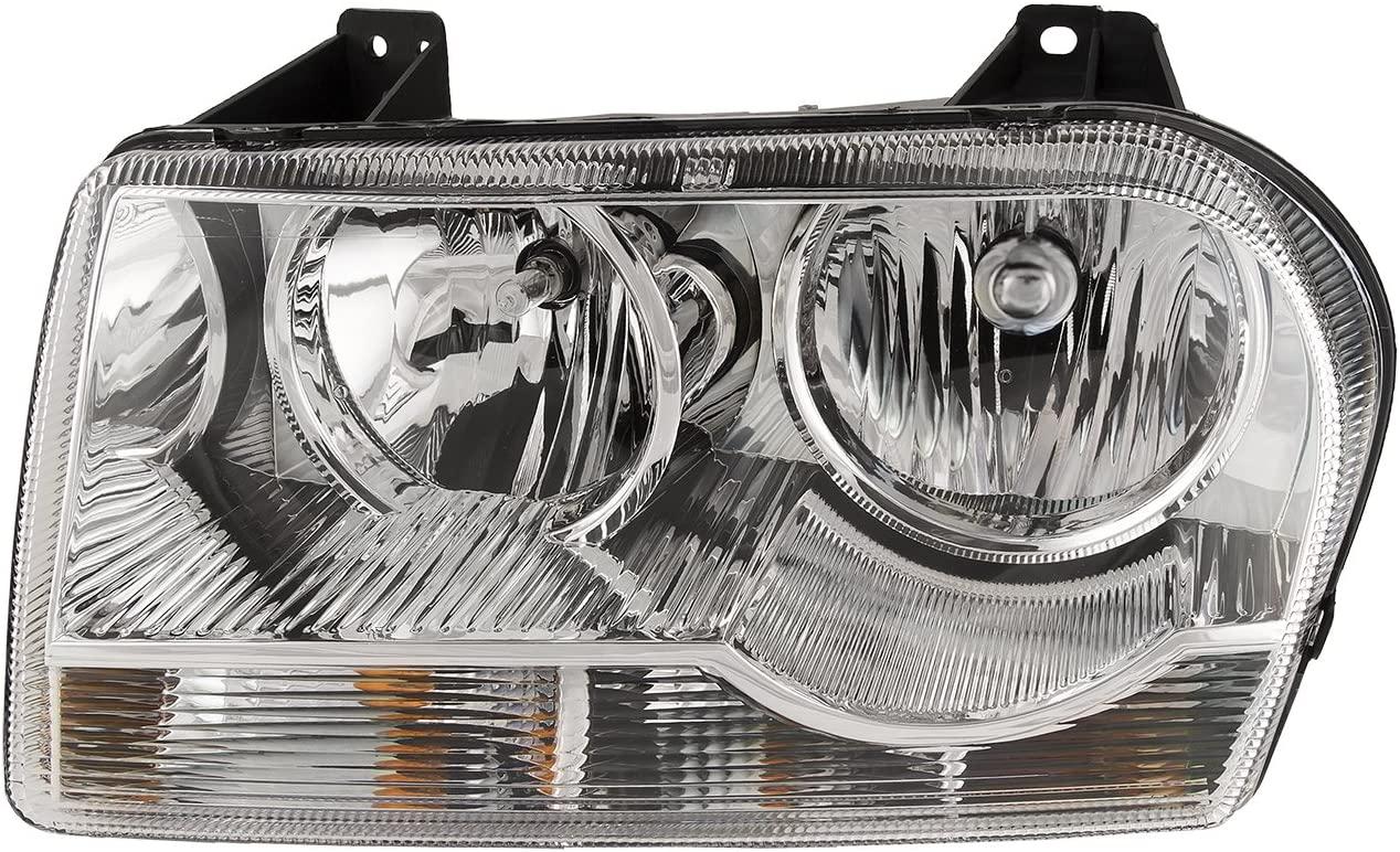 HEADLIGHTSDEPOT Chrome Housing Halogen Headlight Compatible with Chrysler 300 2005-2010 Includes Left Driver Side Headlamp
