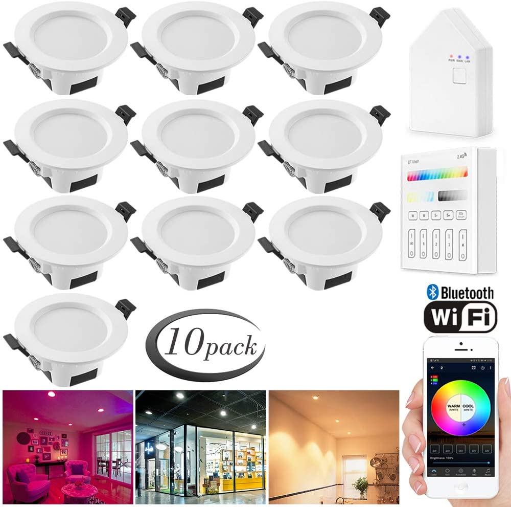 Smart LED Downlights Kit, Sumaote 10pcs 3 Inch 5W LED Recessed Lights WiFi & Bluetooth Control RGBCW 2700K-6500K Dimmable Ceiling Lights with Smart Panel & Smart Bridge, Fits for Alexa Google Home