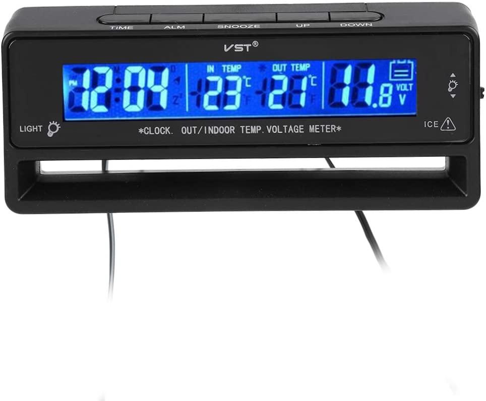 Sanpyl Digital Hygrometer Thermometer Temperature Display Meter Voltage Monitor LED Clock LED Backlight Display Meter for Car Indoor and Outdoor