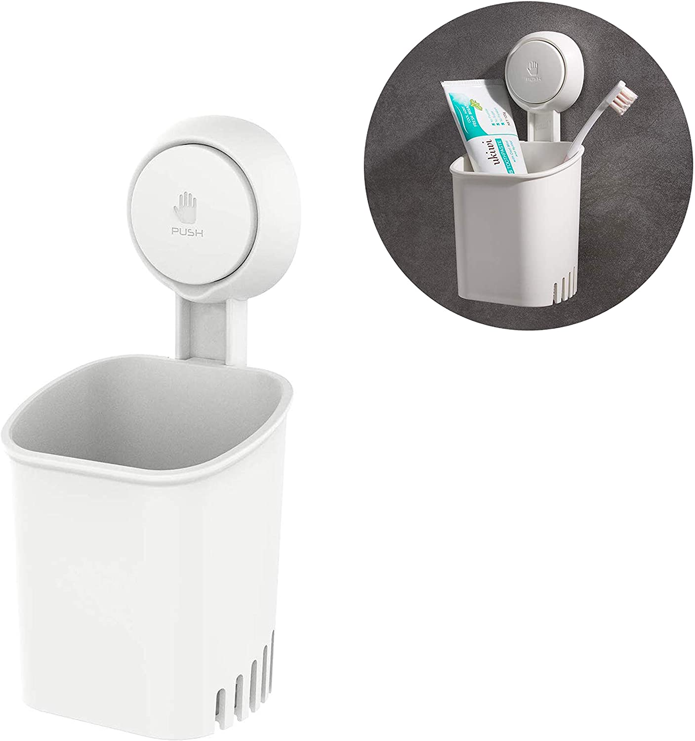 Aseem Suction Cup Toothbrush Holder Wall Mounted, Power Lock Bathroom Shower Organiser for Electric Toothbrushes, Toothpaste, Shaver, Razor and Makeup Brush, No Drill or Nail Needed - White