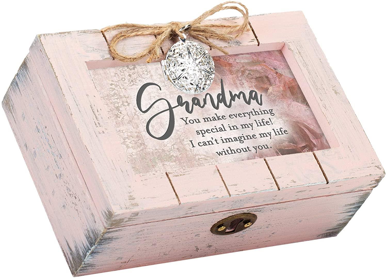 Cottage Garden Grandma You Make Everything Special Petite Blush Distressed Locket Music Box Plays Wonderful World