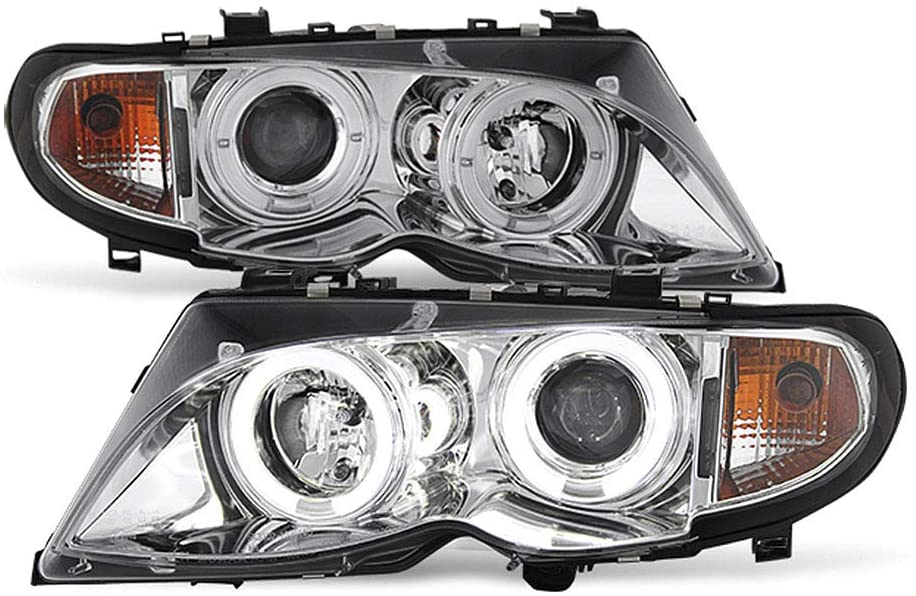 ACANII - For [Halogen Model] 2002-2005 BMW E46 Sedan 3-Series LED Halo Chrome Projector Headlights Headlamps Assembly