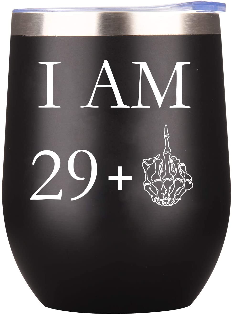 29+ One Middle Finger Wine Tumbler Funny Stemless Steel with Lid Unique 30th Birthday Gifts for Man Women Friend Lover Turning Perfect Party Decoration 12 Oz (Black-30, 12 Ounce)