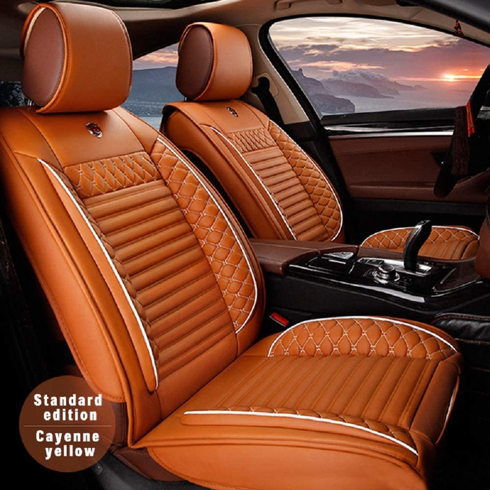 Surekit Custom Car Seat Cover for Jeep Grand Cherokee Wrangler Commander Cherokee Compass Renegade 5-Seat Car Seat Cushion Cover Full Set Needlework PU Leather Seat Pad Protector (Cayenne)