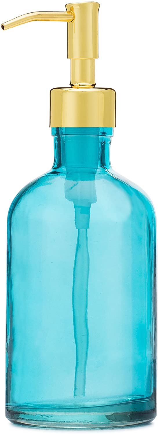 Rail19 Beach Blue Glass Lotion Soap Dispenser with Metal Pump (Gold)
