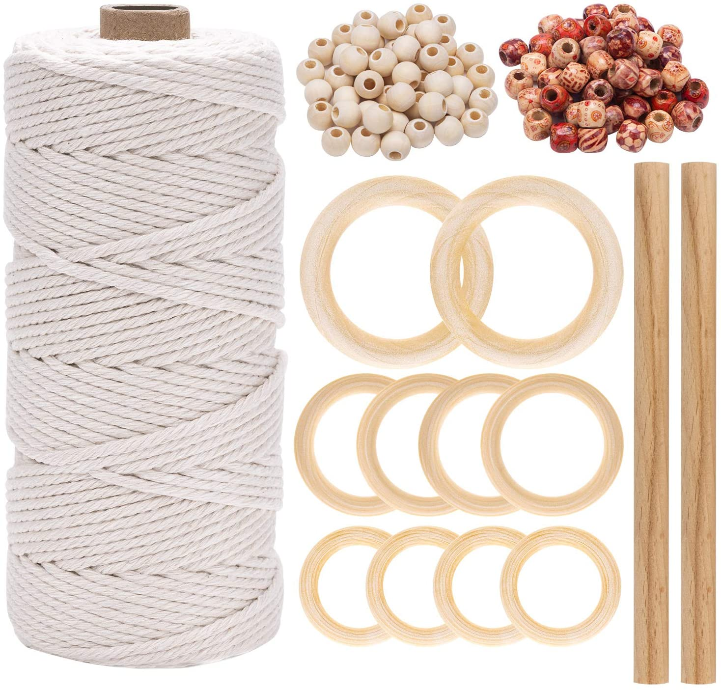 Macrame Cord 3mm x 109 Yards, Natural Macrame Rope Macrame Supplies Cotton Cord Wooden Beads for Wall Hanging, Plant Hangers, Crafts, Knitting, Decorative Projects