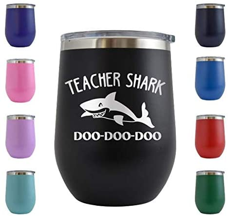 Teacher Shark - Engraved 12 oz Stemless Wine Tumbler Cup Glass Etched - Funny Birthday Gift Ideas for him, her, mom, dad, husband, wife (Black - 12 oz)