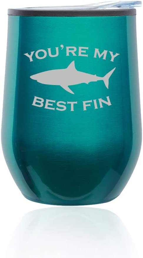 Stemless Wine Tumbler Coffee Travel Mug Glass With Lid Youre My Best Fin Friend Shark (Turquoise Teal)