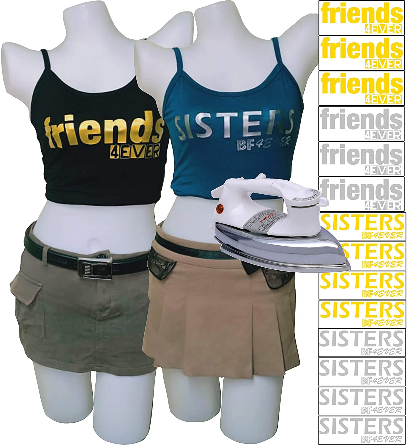 PrinturShirt BFF Sister Shirt | Bestie Shirts | Matching BFF Shirts | Unbiological Sister Shirt for Women, Teen Girls - Iron On Heat Transfer Vinyl Set - 14pcs, Gold and Silver - Easy To Use, Savings