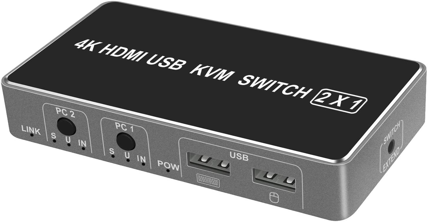 KVM Switch 2 in 1 Out HDMI Switcher 2 Port USB Switch,Use a Keyboard Mouse and a High-Definition Monitor to Share 2 Computers (HDMI KVM Switch)
