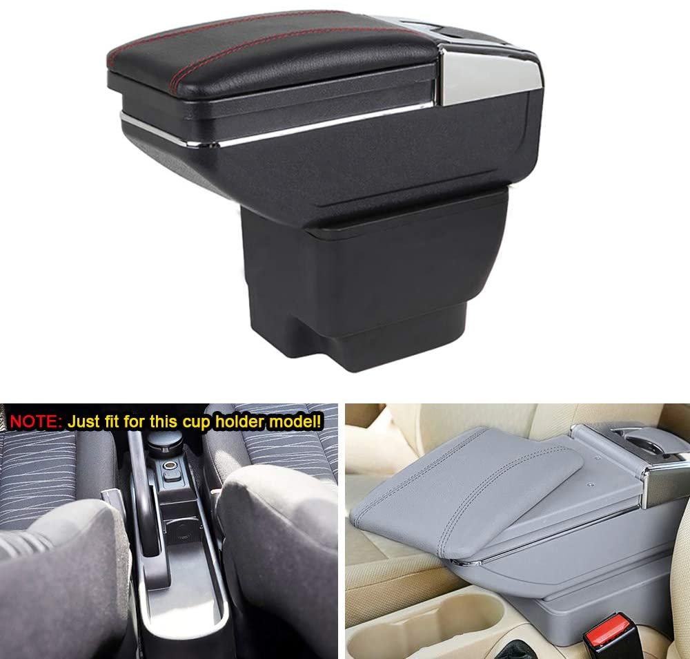 MyGone Center Console Armrest Box for 2008-2013 Mazda 2 Hatchback, Car Interior Accessories Leather Arm Rest Organizer with Cup Holder Removable Ashtray Gray
