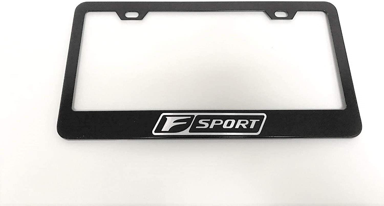 KuraSpeed Lexus F Sport Stainless Black Metal License Plate Frame with Screw Caps