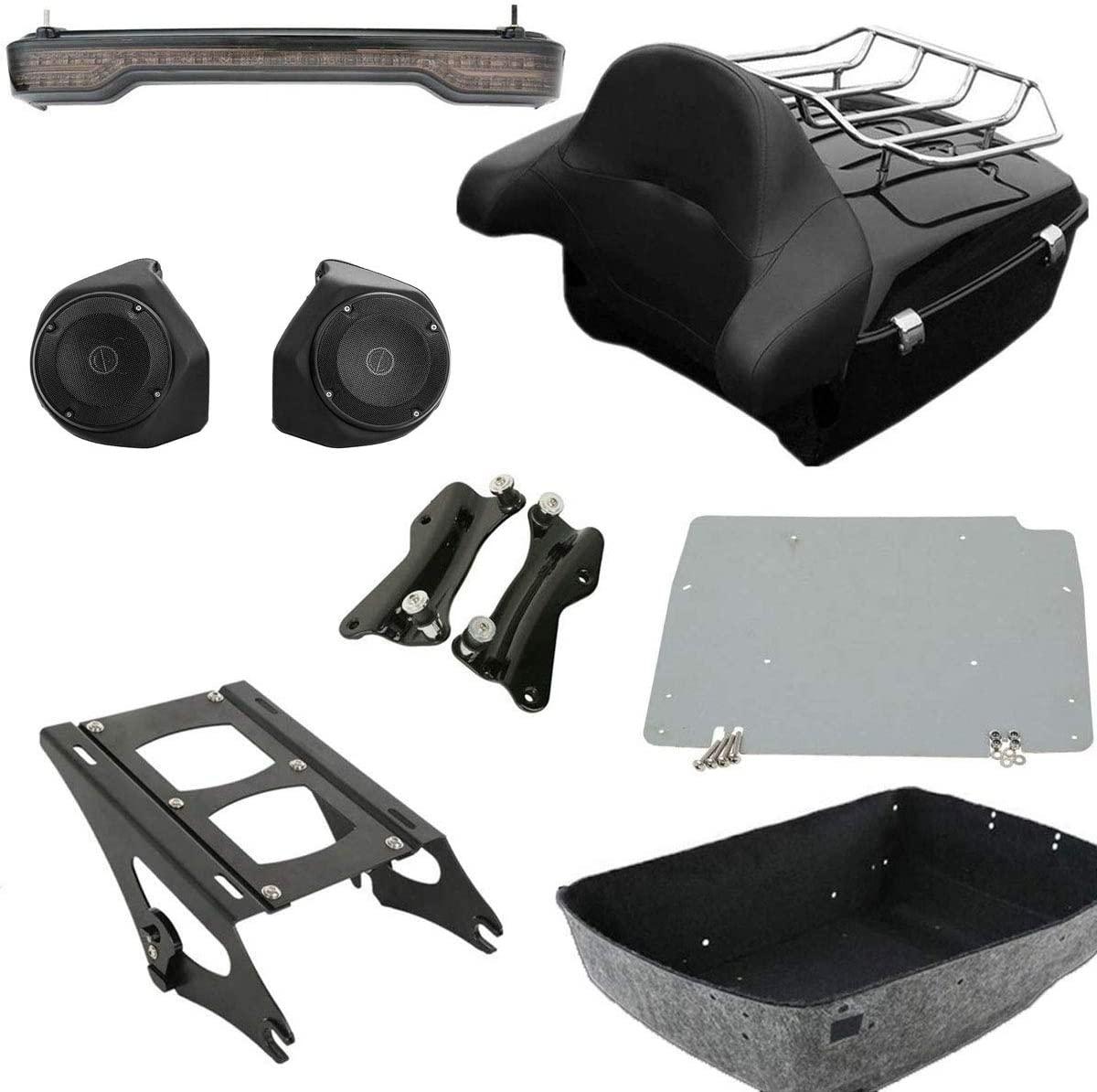 TCMT King Tour Pack Trunk Backrest 2 Up Mounting Rack Luggage Rack Base Metal Rear Speaker LED Brake Turn Tail Light Docking Hardware Kits Fits For Harley Touring 2014-2020 (Style D)