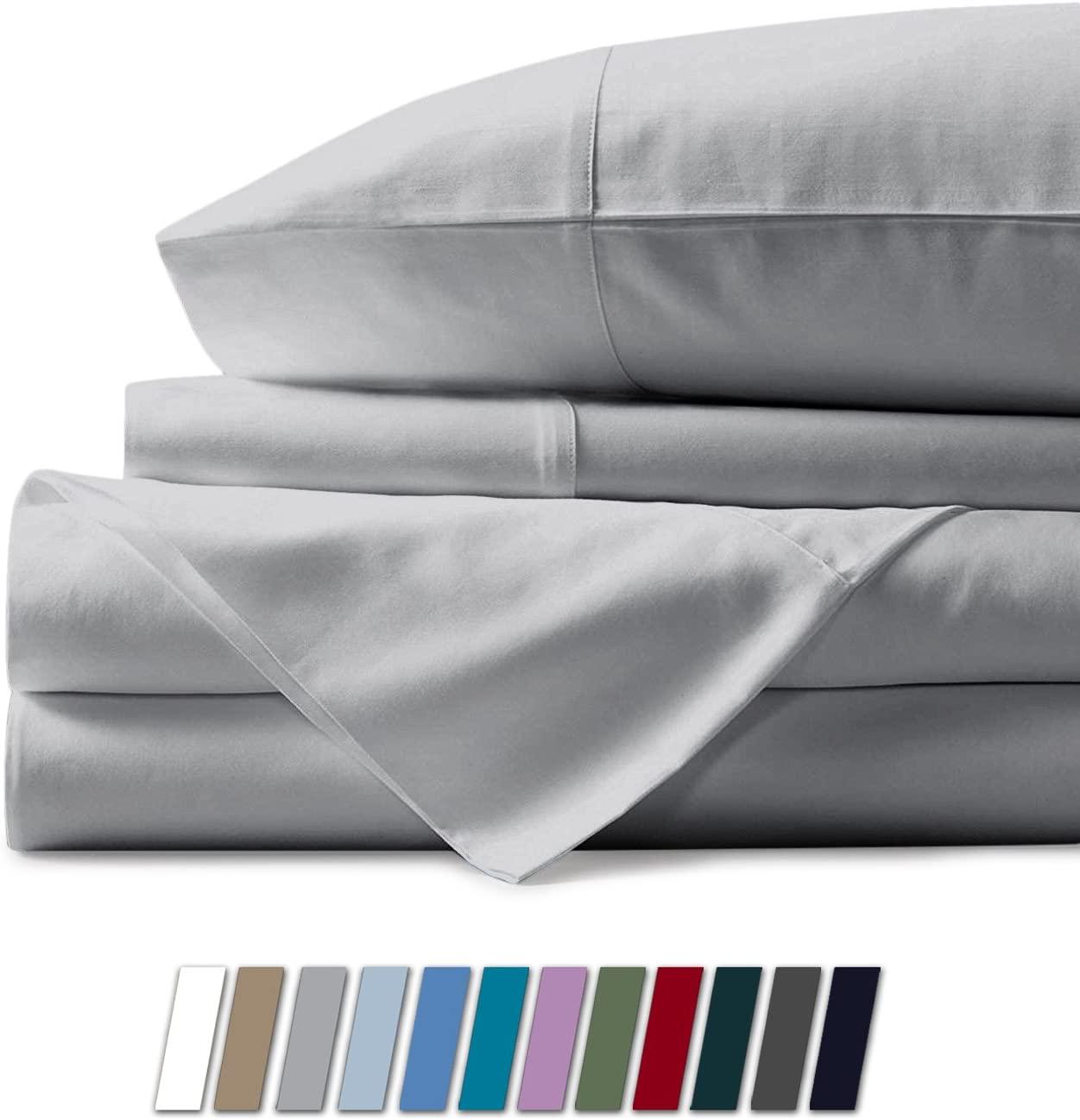 Mayfair Linen 1000 Thread Count Best Bed Sheets 100% Egyptian Cotton Sheets Set - Silver Long-Staple Cotton Queen Sheet for Bed, Fits Mattress Upto 18'' Deep Pocket, Soft & Silky Sateen Weave Sheets