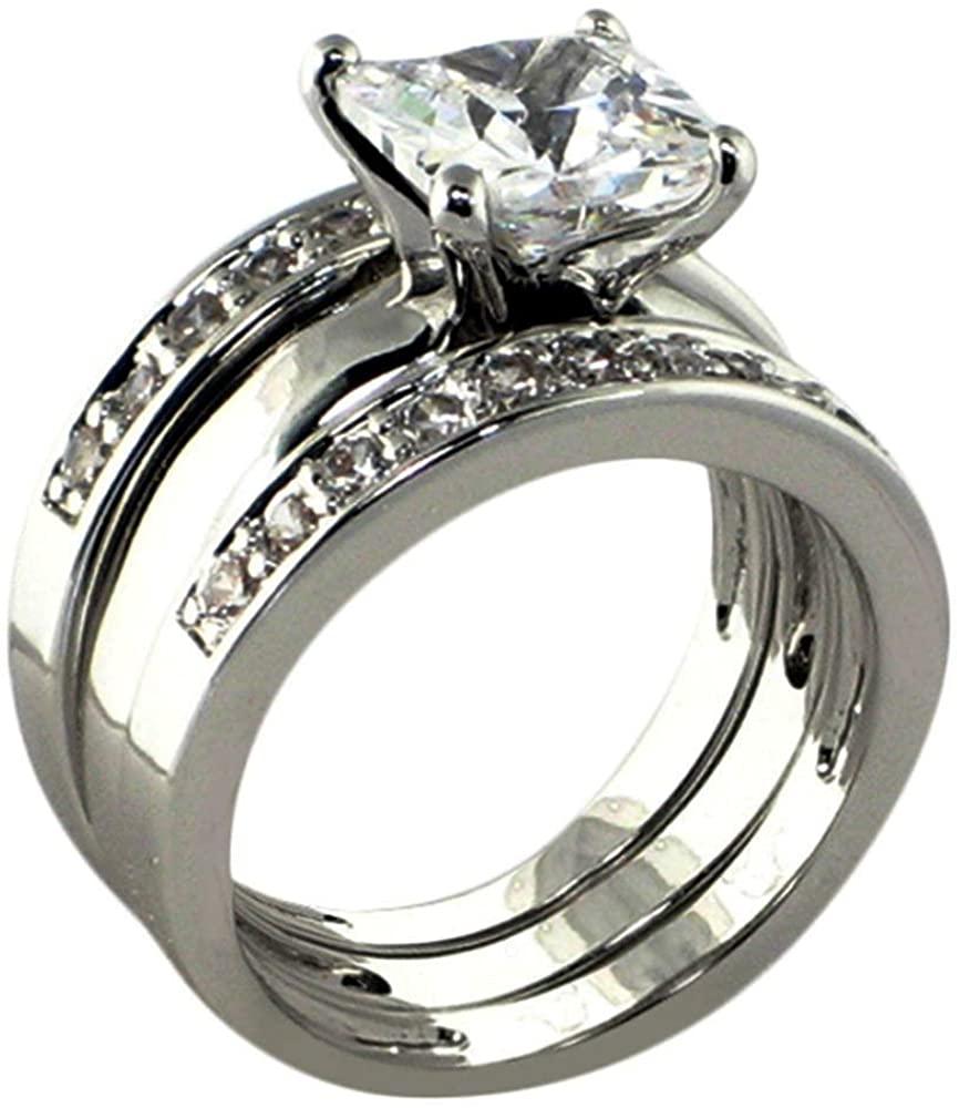 Solitaire 3 Ct. Princess-Shape Cubic Zirconia Cz Bridal Engagement Wedding 3 Piece Ring Set (Center Stone is 2.25 Cts)